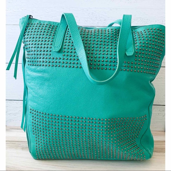 Kelsi Dagger Handbags - Kelsi Dagger Large Leather Teal Studded Bag